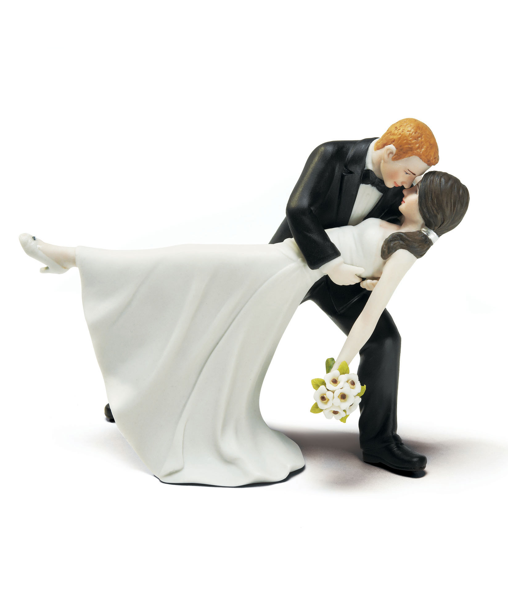 Romantic Wedding CAKE TOPPER Bride and Groom Embrace Dip