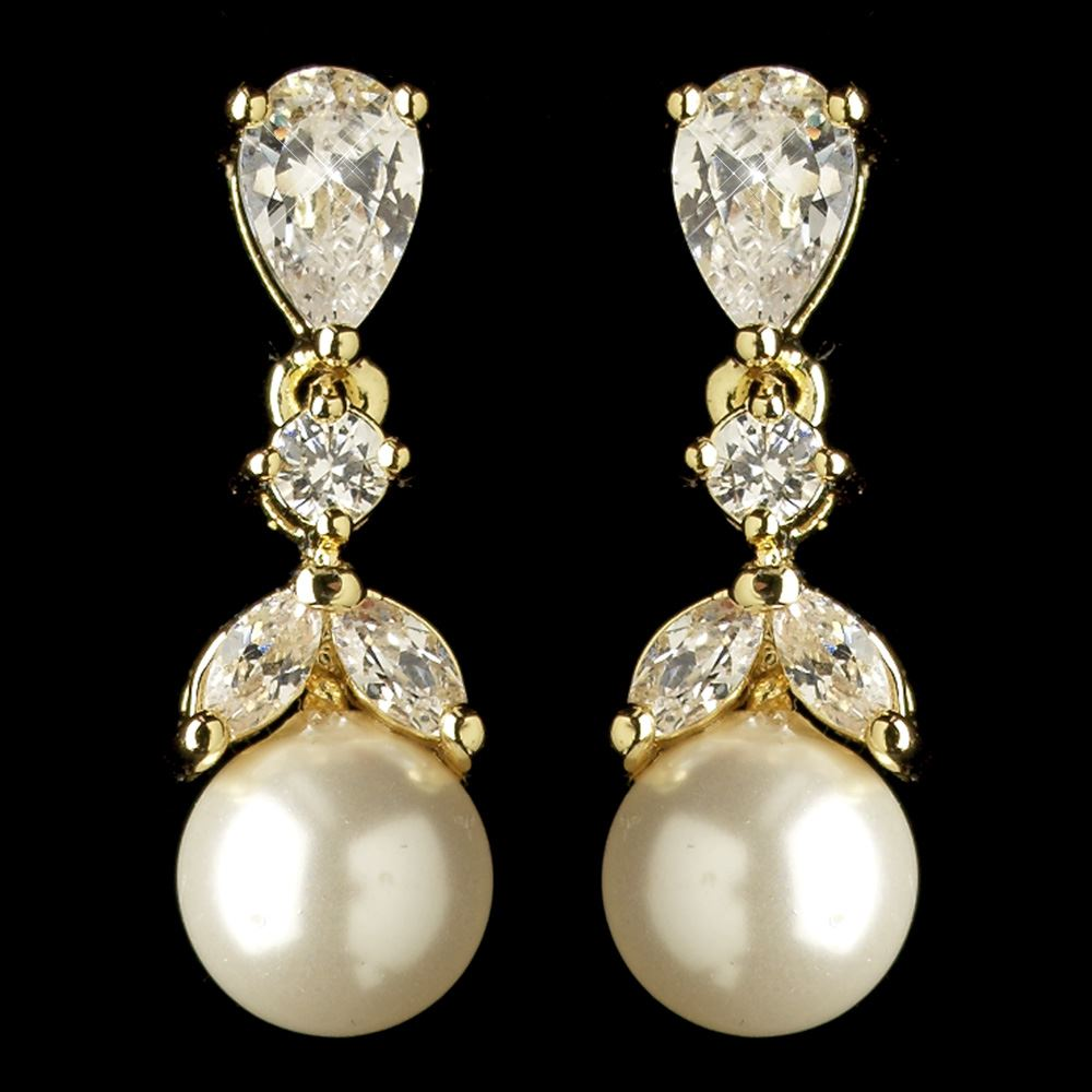 Wedding Earrings White Gold: Wedding Jewelry Gold Diamond White Pearl & CZ Crystal Drop