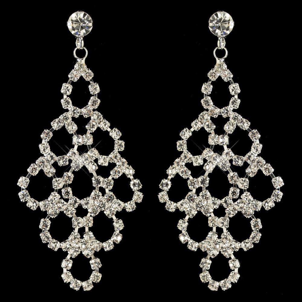 bridal silver rhinestone chandelier earrings for