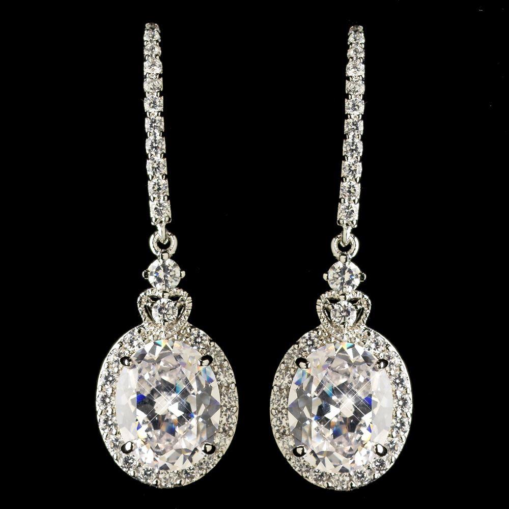 wedding brides silver cubic zirconia drop earrings