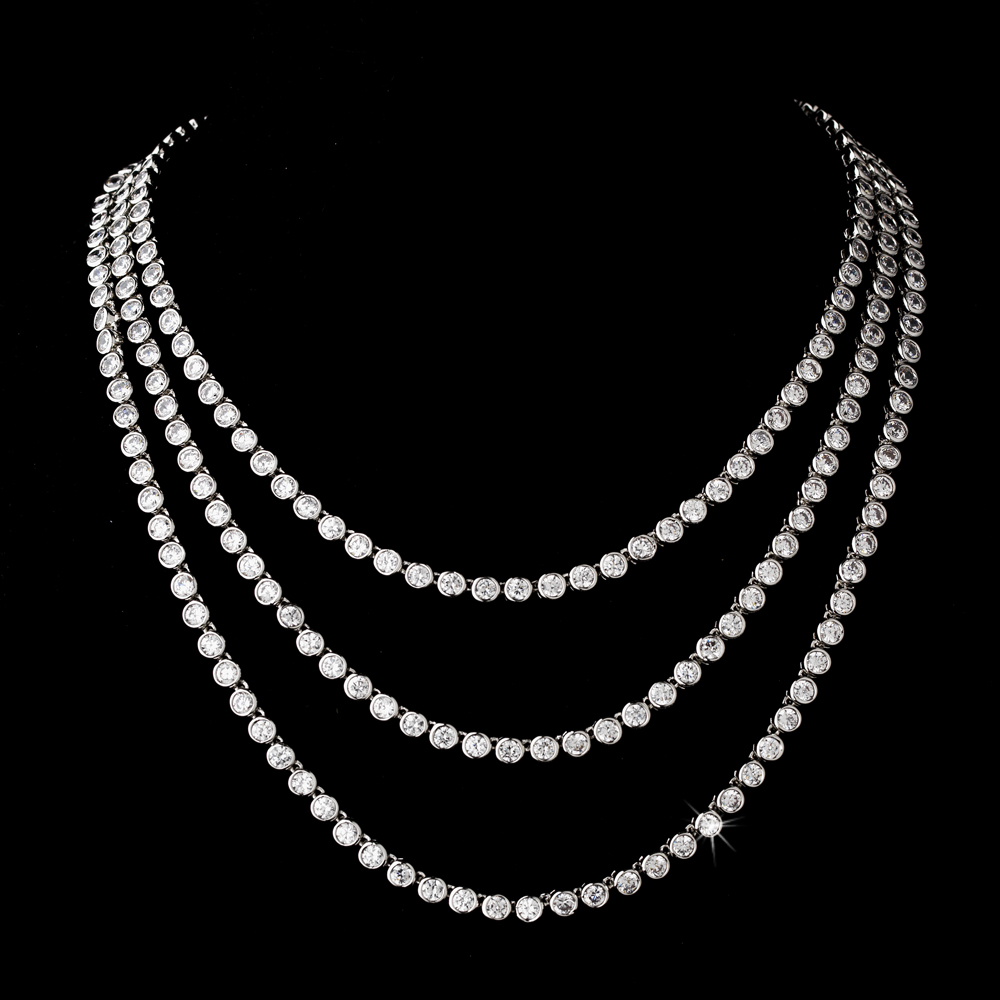 Bride Wedding Silver Cubic Zirconia 3 Row Necklace Bridal Jewelry eBay