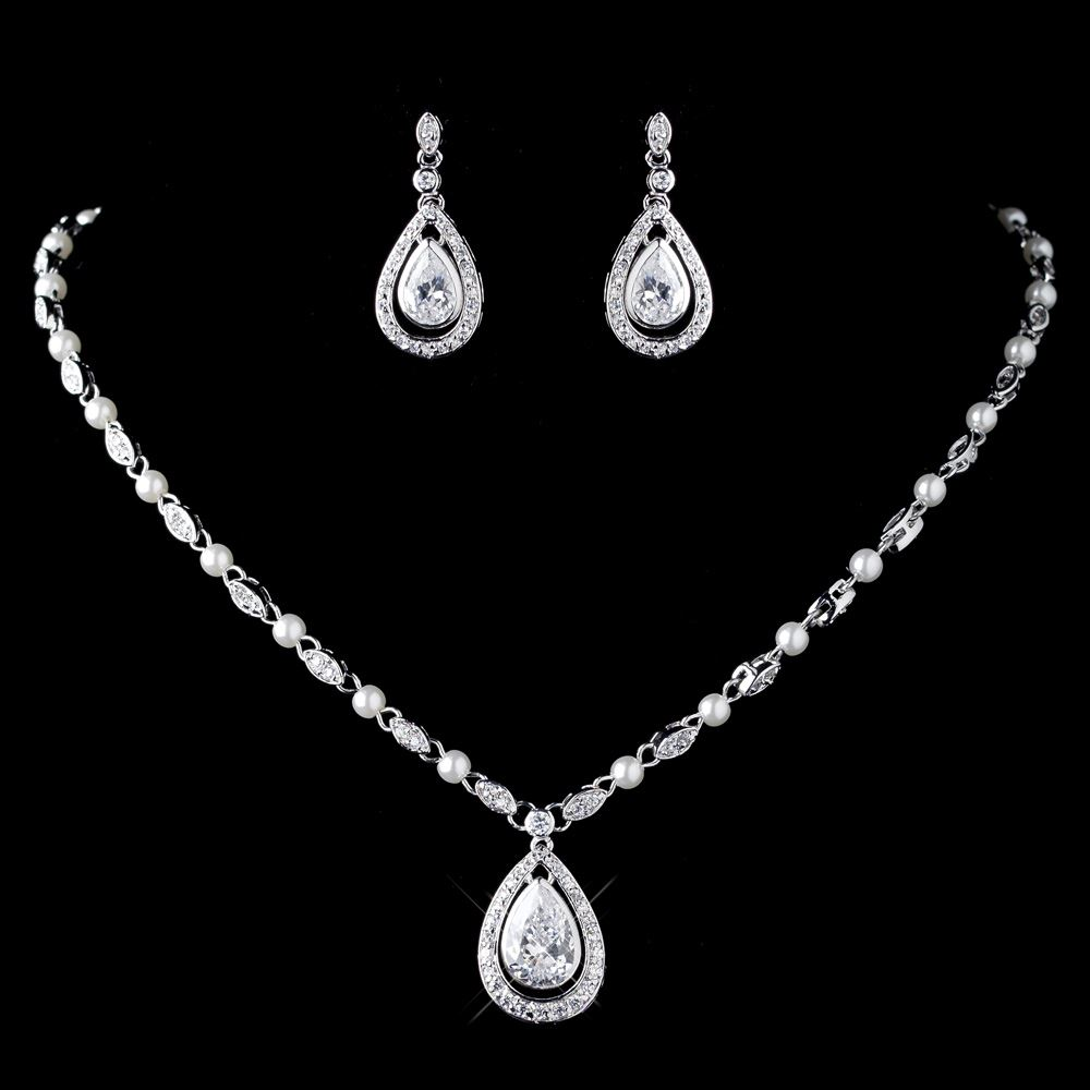 Wedding Bridal CZ Crystal & Diamond White Pearl Necklace ...