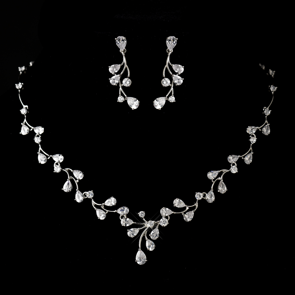 Bridemaid Antique Silver Clear CZ Crystal Necklace /& Earrings