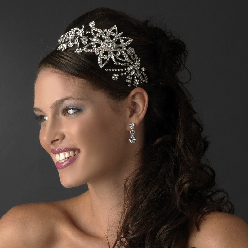 Vintage Wedding Headpieces: BRIDES HEADPIECE Vintage Style Silver /Antique Side Accent