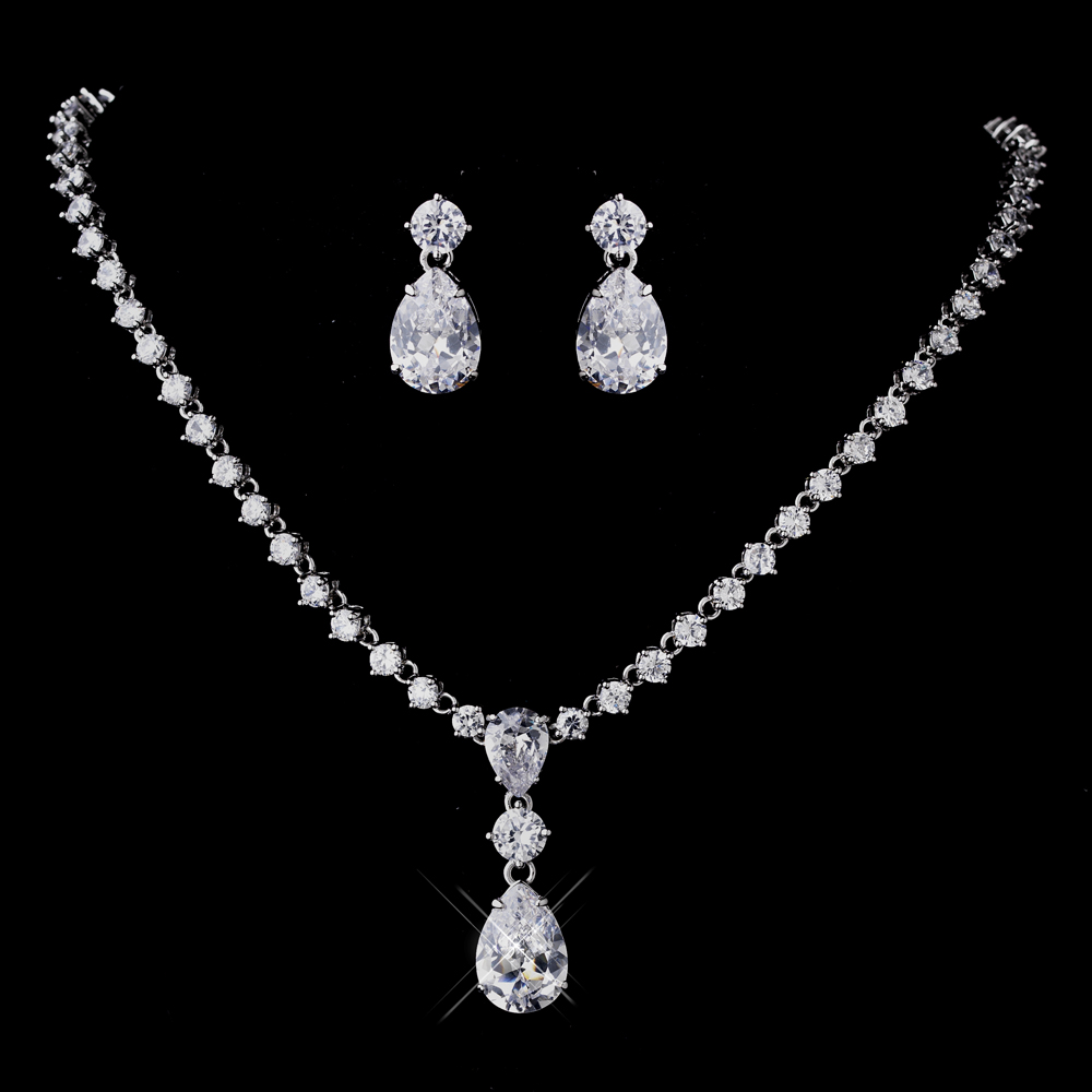 Silver Clear Cz Necklace Earring Set