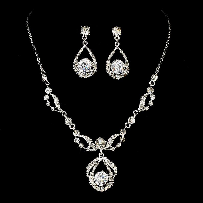 Elegant Bridesmaid Jewelry Set Necklace Earrings Rhinestones Wedding