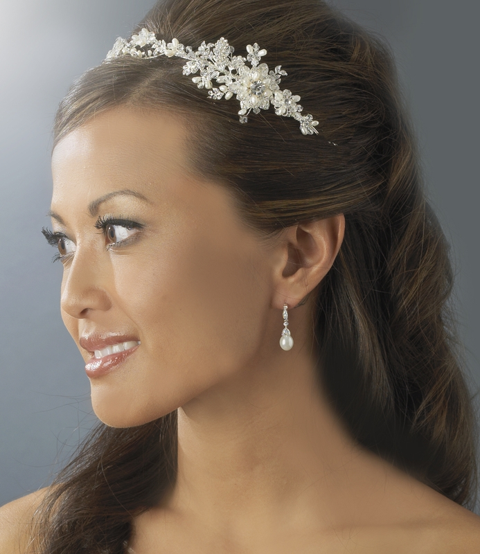 Freshwater Pearl Crystal Silver Floral Bridal Hair Vine Side Accent He