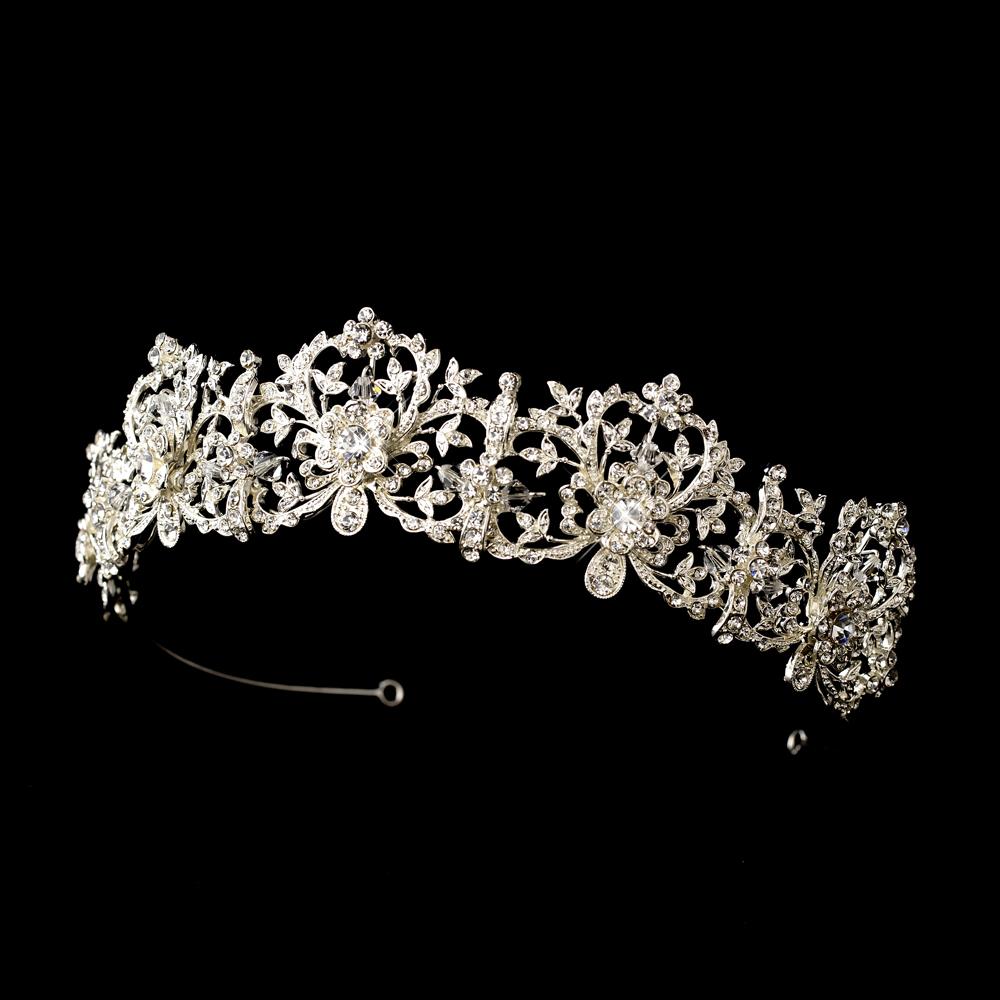 Royal Bridal Tiara Silver Amp Sparkling Rhinestone Tiara Crown Ebay