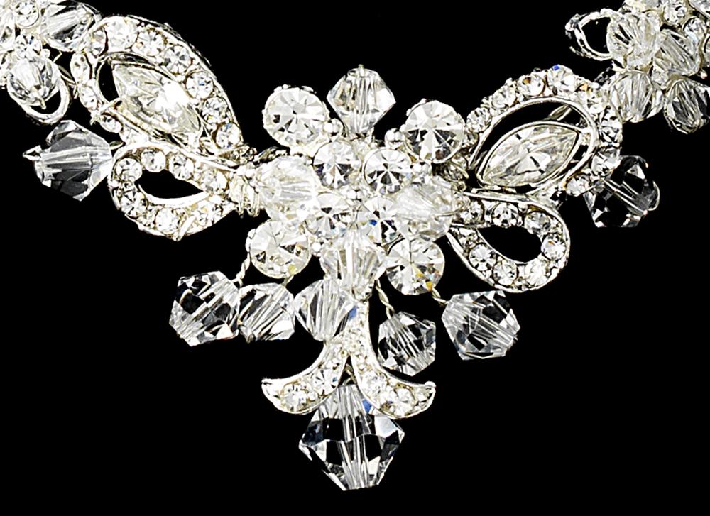 Silver Bridal Jewelry Set and Tiara of Swarovski Crystal Wedding