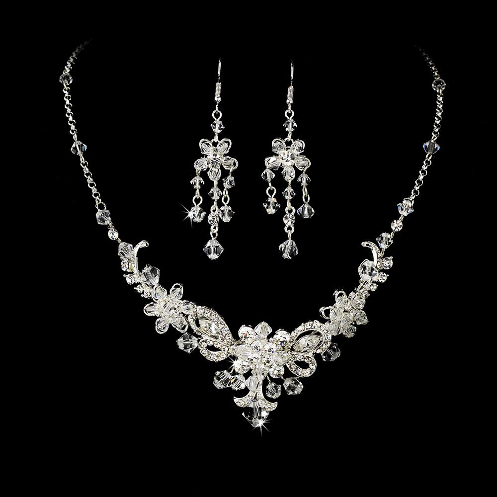 Silver Bridal Jewelry Set And Tiara Of Swarovski Crystal