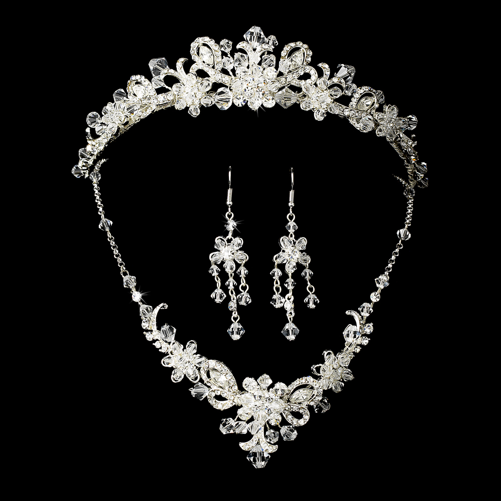 silver bridal jewelry set and tiara of swarovski