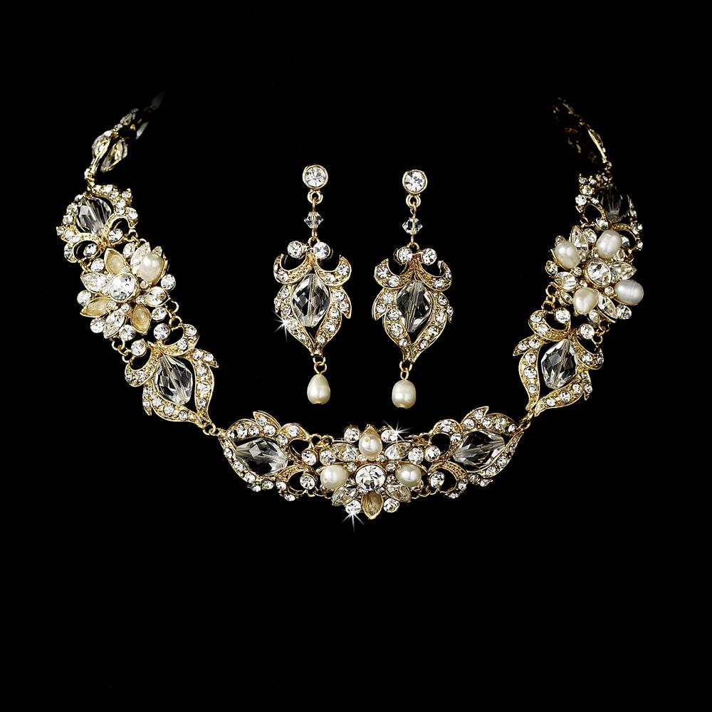 Romantic Silver Bridal Choker Necklace Earrings Set
