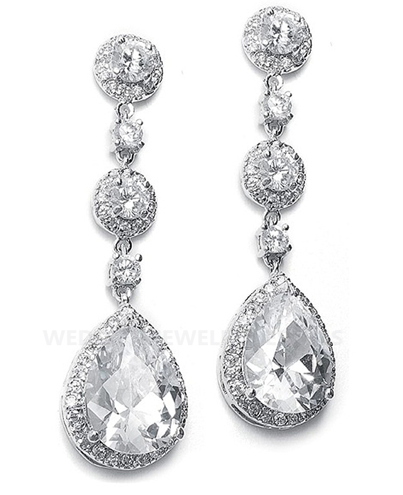 Details about Drop Bridal Earrings with Pear Shaped CZ and Pave Frame ...