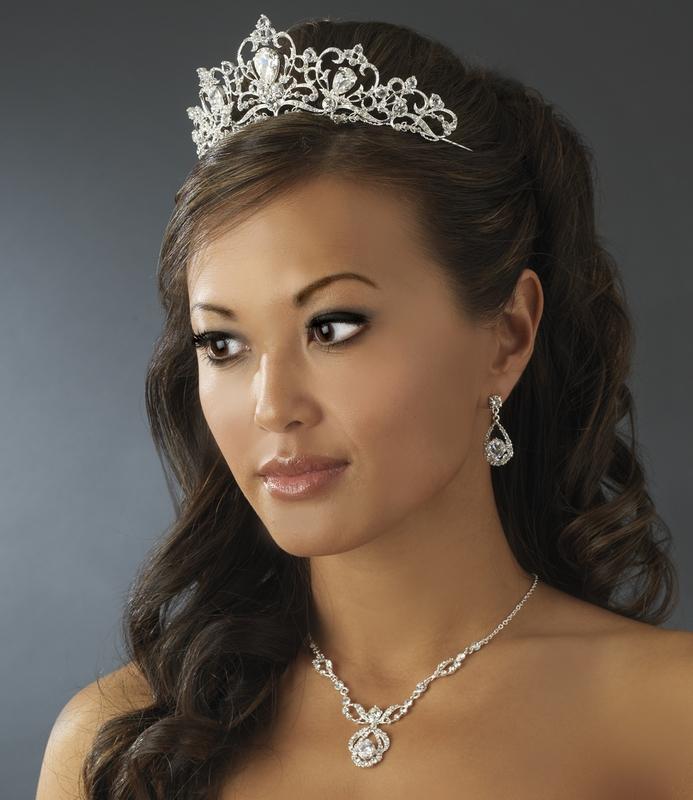 Elegant Bridal Set Heavy Gold Plated Diamante Crystal: ELEGANT DIAMANTE BRIDAL JEWELRY SET Silver Rhinestone