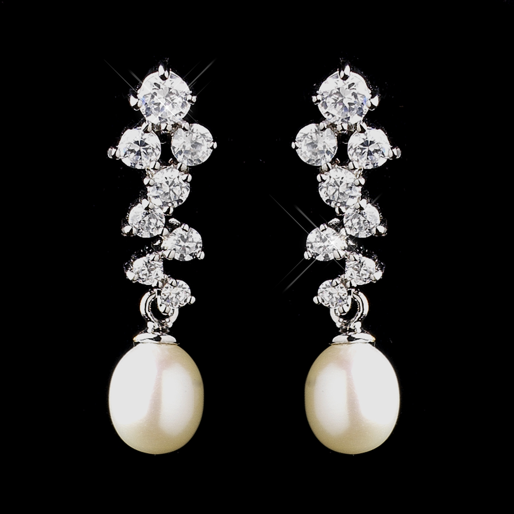 Cly Elegant Bridal Earrings Cz And Freshwater Pearls Wedding Jewelry
