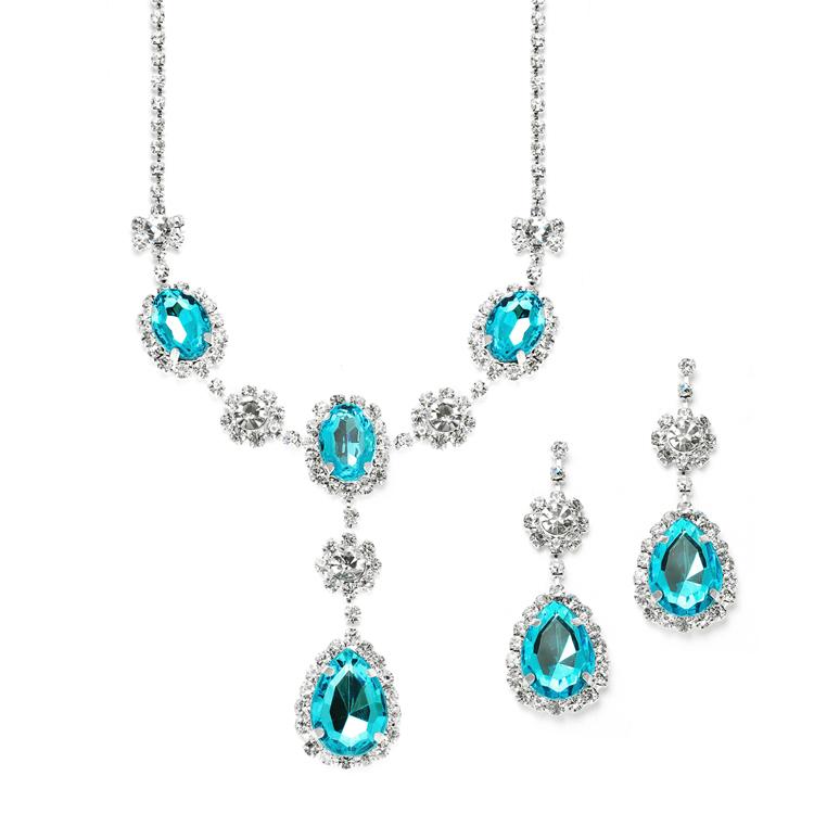 Wedding bridesmaid teal rhinestone crystal necklace for Bridesmaid jewelry sets under 20