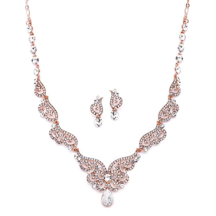 8b55501d9 Details about Vintage Crystal Scrolls Bridesmaid Necklace & Drop Earrings  Wedding Bridal Set